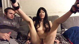 Asian Teen makes her Cuck boyfriend clean up her pussy after a 10 man creampie gangbang