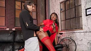 Hobo gets to fuck gorgeous ebony babe Jasmine Webb
