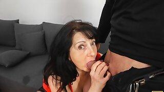 MATURE4K. Passionate mature woman gives a blowjob
