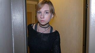 DEBT4k. Pretty teen girl with a choker satisfies debt