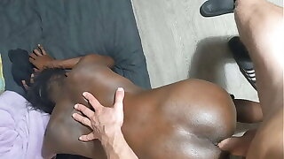Black Thin Babe Jumps On Olmo's Big Viking Dick
